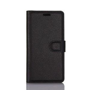 Чехол портмоне подставка на силиконовой основе с отсеком для карт на магнитной защелке для LG K8 (2017)  Черный