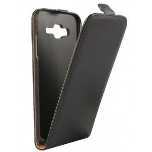 Чехол вертикальная книжка на пластиковой основе на магнитной защелке для Samsung Galaxy J5  Черный