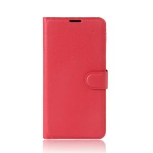Чехол горизонтальная книжка подставка на силиконовой основе с отсеком для карт на магнитной защелке для Lenovo K6 Note  Красный