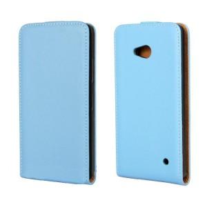 Чехол вертикальная книжка на пластиковой основе на магнитной защелке для Microsoft Lumia 640 Синий