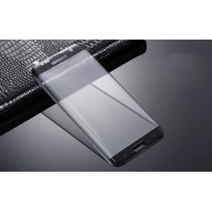 Полноэкранная ультратонкая износоустойчивая сколостойкая олеофобная защитная объемная стеклянная панель на плоскую и изогнутые поверхности экрана для Samsung Galaxy S7 Edge  Черный