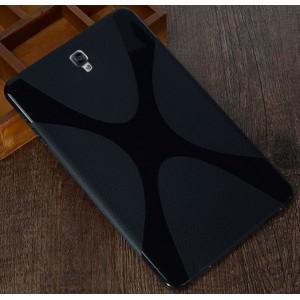 Силиконовый матовый полупрозрачный чехол с дизайнерской текстурой X для Samsung Galaxy Tab S3  Черный