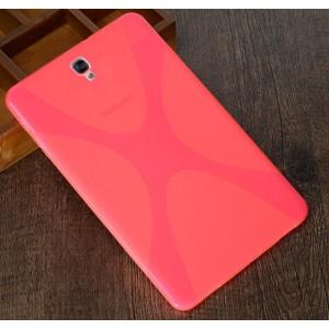 Силиконовый матовый полупрозрачный чехол с дизайнерской текстурой X для Samsung Galaxy Tab S3  Розовый