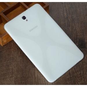 Силиконовый матовый полупрозрачный чехол с дизайнерской текстурой X для Samsung Galaxy Tab S3  Белый
