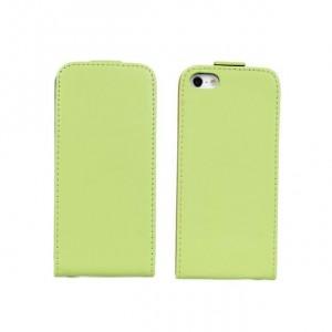 Чехол вертикальная книжка на пластиковой основе на магнитной защелке для Iphone 5/5s/SE Зеленый