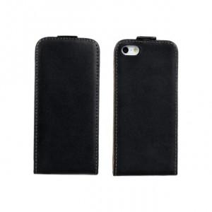 Чехол вертикальная книжка на пластиковой основе на магнитной защелке для Iphone 5/5s/SE Черный