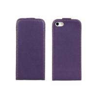 Чехол вертикальная книжка на пластиковой основе на магнитной защелке для Iphone 5/5s/SE Фиолетовый