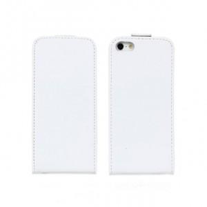 Чехол вертикальная книжка на пластиковой основе на магнитной защелке для Iphone 5/5s/SE Белый