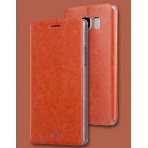 Чехол горизонтальная книжка подставка на силиконовой основе для Samsung Galaxy S8 Коричневый