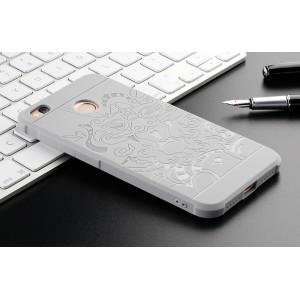 Силиконовый матовый непрозрачный чехол с нескользящим софт-тач покрытием и текстурным покрытием Дракон для Xiaomi RedMi 4X