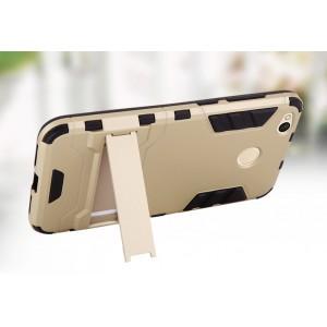 Противоударный двухкомпонентный силиконовый матовый непрозрачный чехол с поликарбонатными вставками экстрим защиты с встроенной ножкой-подставкой для Xiaomi RedMi 4X