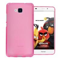 Силиконовый матовый полупрозрачный чехол для Huawei Honor 5C Розовый