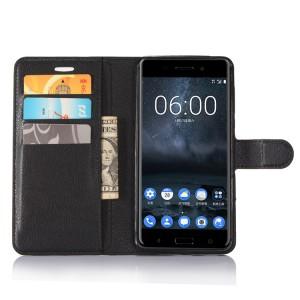 Чехол портмоне подставка на силиконовой основе с отсеком для карт на магнитной защелке для Nokia 6