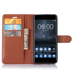 Чехол портмоне подставка на силиконовой основе с отсеком для карт на магнитной защелке для Nokia 6  Коричневый
