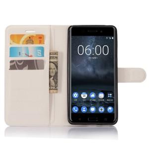 Чехол портмоне подставка на силиконовой основе с отсеком для карт на магнитной защелке для Nokia 6  Белый