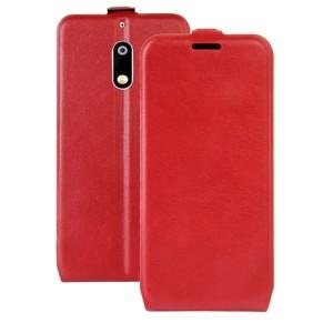Чехол вертикальная книжка на силиконовой основе с отсеком для карт на магнитной защелке для Nokia 6  Красный