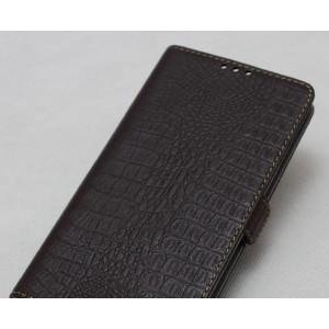 Кожаный чехол горизонтальная книжка текстура Крокодил с крепежной застежкой для Nokia 6