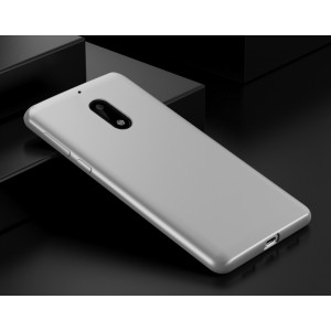 Силиконовый матовый непрозрачный чехол для Nokia 6 Белый