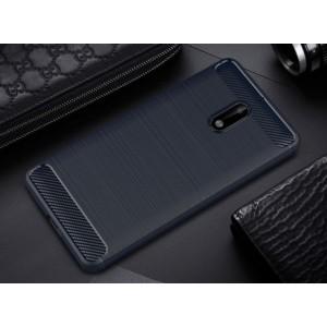 Силиконовый матовый непрозрачный чехол с текстурным покрытием Металлик для Nokia 6 Синий
