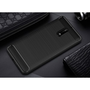 Силиконовый матовый непрозрачный чехол с нескользящим софт-тач покрытием и текстурным покрытием Металлик для Nokia 6