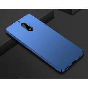 Пластиковый непрозрачный матовый нескользящий чехол с допзащитой торцов для Nokia 6 Синий