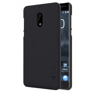 Пластиковый непрозрачный матовый нескользящий премиум чехол с повышенной шероховатостью для Nokia 6