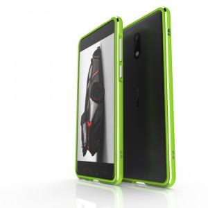 Металлический округлый бампер сборного типа на винтах для Nokia 6  Зеленый