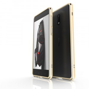 Металлический округлый бампер сборного типа на винтах для Nokia 6  Бежевый