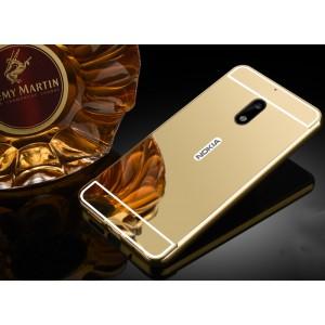 Двухкомпонентный чехол c металлическим бампером с поликарбонатной накладкой и зеркальным покрытием для Nokia 6