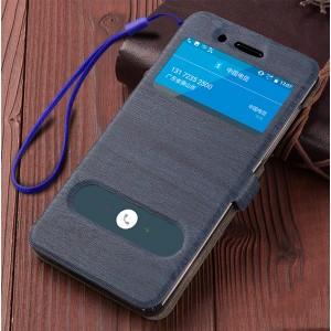 Чехол горизонтальная книжка подставка текстура Дерево на силиконовой основе с окном вызова и полоcой свайпа на магнитной защелке для Nokia 6