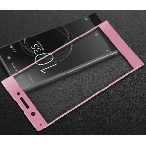 Полноэкранное ультратонкое износоустойчивое сколостойкое олеофобное защитное стекло-пленка для Sony Xperia XA1 Розовый