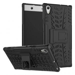 Противоударный двухкомпонентный силиконовый матовый непрозрачный чехол с поликарбонатными вставками экстрим защиты для Sony Xperia XA1