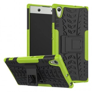 Противоударный двухкомпонентный силиконовый матовый непрозрачный чехол с поликарбонатными вставками экстрим защиты для Sony Xperia XA1 Зеленый