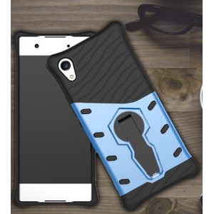Двухкомпонентный силиконовый матовый непрозрачный чехол с поликарбонатными бампером и крышкой и встроенной ножкой-подставкой для Sony Xperia XA1