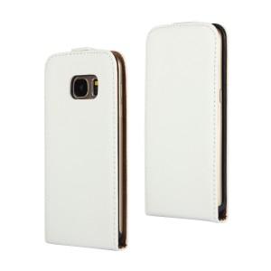 Чехол вертикальная книжка на пластиковой основе на магнитной защелке для Samsung Galaxy S7 Белый