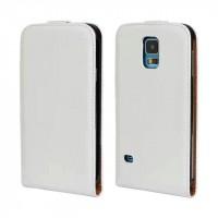Чехол вертикальная книжка на пластиковой основе на магнитной защелке для Samsung Galaxy S5 (Duos) Белый