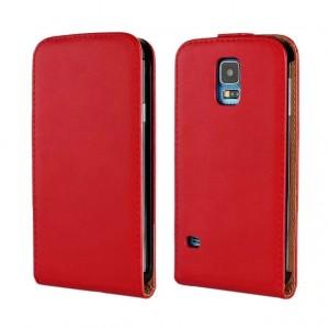 Чехол вертикальная книжка на пластиковой основе на магнитной защелке для Samsung Galaxy S5 (Duos) Красный
