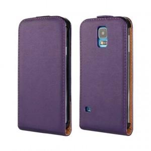 Чехол вертикальная книжка на пластиковой основе на магнитной защелке для Samsung Galaxy S5 (Duos) Фиолетовый