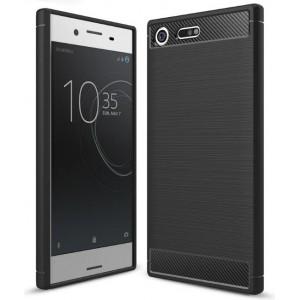 Силиконовый матовый непрозрачный чехол с текстурным покрытием Металлик для Sony Xperia XZ Premium