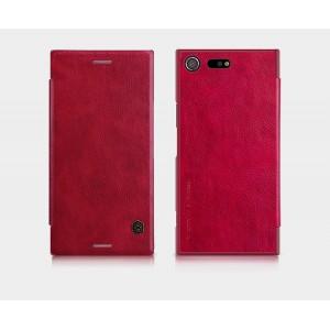 Кожаный чехол горизонтальная книжка на пластиковой основе с отсеком для карт для Sony Xperia XZ Premium