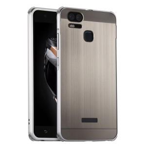 Двухкомпонентный чехол c металлическим бампером с поликарбонатной накладкой и зеркальным покрытием для Asus ZenFone 3 Zoom  Белый