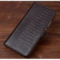 Кожаный чехол портмоне подставка (премиум нат. кожа крокодила) с крепежной застежкой для Asus ZenFone 3 Zoom  Коричневый