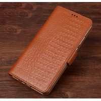 Кожаный чехол портмоне подставка (премиум нат. кожа крокодила) с крепежной застежкой для Asus ZenFone 3 Zoom  Бежевый