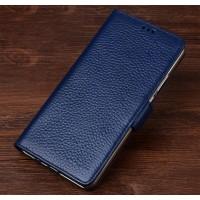 Кожаный чехол портмоне подставка (премиум нат. кожа) с крепежной застежкой для Asus ZenFone 3 Zoom  Синий