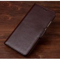 Кожаный чехол портмоне подставка (премиум нат. кожа) с крепежной застежкой для Asus ZenFone 3 Zoom  Коричневый