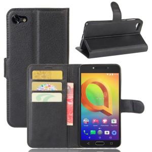 Чехол портмоне подставка на силиконовой основе с отсеком для карт на магнитной защелке для Alcatel A5 LED  Черный