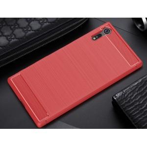 Силиконовый матовый непрозрачный чехол с текстурным покрытием Металлик для Sony Xperia XZ/XZs Красный