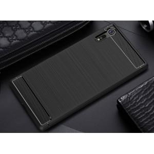 Силиконовый матовый непрозрачный чехол с нескользящим софт-тач покрытием и текстурным покрытием Металлик для Sony Xperia XZ  Черный