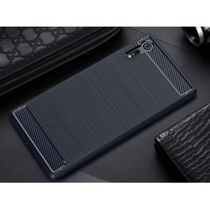 Силиконовый матовый непрозрачный чехол с нескользящим софт-тач покрытием и текстурным покрытием Металлик для Sony Xperia XZ