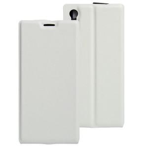 Чехол вертикальная книжка на силиконовой основе с отсеком для карт на магнитной защелке для Sony Xperia XZ/XZs Белый